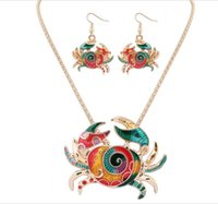 Wholesale Nest Earrings - 2017 new drip animal nest European and American cute naughty hippocampus crab earrings necklace sets of sets of jewelry wholesale