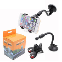 Wholesale car mounting - Car Mount Long Arm Universal Windshield Dashboard Mobile Phone Car Holder 360 Degree Rotation Car Holder with Strong Suction Cup X Clamp