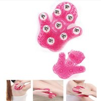 Wholesale Massager Metal Balls - Magic Ball Gloves Palm Shaped Massage Glove Body Massager With 9 360 Degree Roller Metal Roller Ball Beauty Body Care Tools Free Shipping