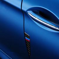 etiqueta engomada de la fibra de carbono de la decoración del coche al por mayor-4 unids fibra de carbono puerta de coche decoración puerta auto accidente rasguño parachoques tira pegatinas 3D para BMW F10 F30 F50 E46 E90 X1 X3 X5 X6