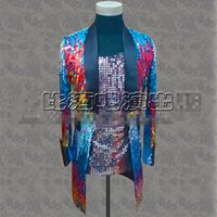 Wholesale Cool Slim Men Blazer - male long colorful blazer jacket green sequin party coat slim tide coat casual singer dancer prom bar show cool costumes stage