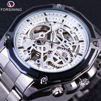 Wholesale Steampunk Mechanical Skeleton Watches - Forsining Silver Stainless Steel Steampunk Mechanical Gear Design Mens Watches Top Brand Luxury Automatic Skeleton Wrist Watch