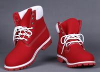 ingrosso scarponi da neve gialli-Stivale invernale all'ingrosso moda giallo rosso impermeabile stivali da lavoro all'aperto scarpe da trekking in pelle per il tempo libero stivaletti per gli uomini