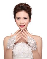 Wholesale Crystal Party Gloves - HarveyBridal Luxury Lace Wedding Gloves with Crystal and Sequins Fingerless lace up Bridal Gloves Prom Party Gloves