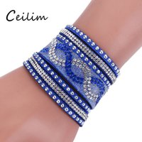 Moda Jóias Multi Layer Velvet PU Pulseira de couro Mulheres Crystal Rhinestone Wrap Wristband Cuff Punk Bracelet Bangles Fit Party