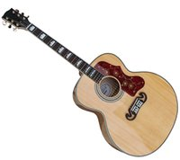Wholesale Guitars 12 String Acoustic - Hot selling Nature AAA solid spruce top J200 acoustic guitar, handmade OEM accept custom electric acoustic guitar