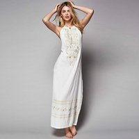 Wholesale Sexy Harness Dress - Plus Size 2017 The European and American Temperament Embroidery Sexy Lace-up Split Long Dress Harness Backless Dress Tide