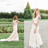 Cheap Mermaid Style Button Back Wedding Dress Free Shipping