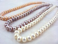Wholesale Ladies Freshwater Pearl Necklace - Fashion 13inches 100% Natural 3Color Freshwater Pearl Necklace Women real long pearl bead necklace Lady Girl Lover Gift