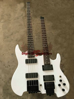 Wholesale Headless Neck - free shipping new custom shop white Headless Double Neck 4 string bass 6 string Electric Guitar(accept custom all kinds of color)