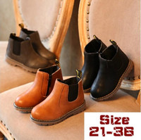 Wholesale Boots Size 21 - Baby Shoes Toddler Boys Girls Boots Leather Children Martin Boots 3 Colors Size 21-36
