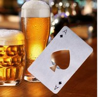 Wholesale Ace Playing Cards - DHL free New Stylish Beer Bottle Opener Poker Playing Card Ace of Spades Bar Tool Soda Cap Opener Gift Kitchen Gadgets Tools