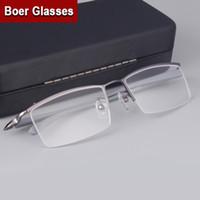Wholesale Titanium Eyewear Wholesales - Wholesale- Fashion Brand Men's Half rimless Eyeglasses Titanium Glasses prescription eyewear RXable 4003 size 55-17-135 Black Gunmetal
