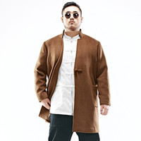 Wholesale Trench Coat Mens Large - Wholesale- Large size China style mens trench coat fashion woolen coat winter new wool trench jacket men's warm windbreaker outwear C121