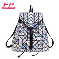 Wholesale Colour Backpack - Wholesale- Colour Laser Backpack for Teenage Girls Women Drawstring Fold Geometry Mirror Geometry Quilted Backpack Sac Bao Bao School Bags