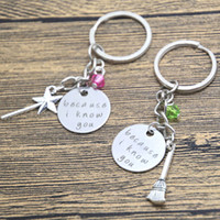 Wholesale Keyrings Musical Wholesalers - 24pcs lot Wicked the musical Inspired Elphaba and Galinda because i know you Friendship keyring