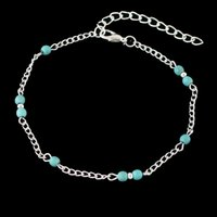 Wholesale Silver Ball Anklet - Feelshine Bohemian Jewelry Summer Silver Color Chain Blue Stone Anklets Beach Barefoot Sandals Foot Jewelry Anklets