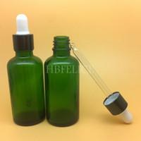 Wholesale Glass Liquid Ring - Wholesale 264pcs LOT 50ml green liquid bottles with Black aluminum screw ring cap