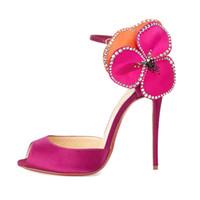 sangles en strass achat en gros de-2017 nouveau style été sexy talons hauts fleur plus sandales taille peep toe boucle chaussures à lanières pour femme cristal strass talons minces
