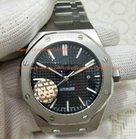 Wholesale Sapphire Royal - N8 Factory TOP Quality Royal Oak Offshore Mens Watch Silver Stainless Steel Original Clasp BLACK Dial Automatic Movement Mechanical Transpa