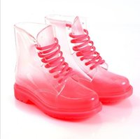 Wholesale Lace Up Rain Boots Women - Wholesale-Women Boots Flat Transparent Martin Boots Shoes Women Ladies Waterproof Clear Crystal Rain Boots Jelly Shoes