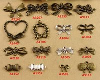 Wholesale Handmade Bracelets Connectors - Vintage DIY jewelry accessories handmade materials bronze bow connector charms, bulk copper brass metal silver bowknot pendants for bracelet