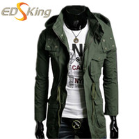 Wholesale Trench Raincoats Men - Wholesale- Mens Long Coat Green Autumn Trench Jacket Windcheater With Hood Man Winter Overcoat Male Raincoats Manteau Homme Abrigo Hombre