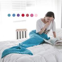 dokuz kuyruklu toptan satış-Mermaid Kuyruk Battaniye Desen Tığ Mermaid Kuyruk Örme Mermaid Kuyruk Battaniye Yetişkin Çocuk 31 '' * 71 ''