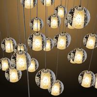 Wholesale 24 Inch Shower Head Led - LED Crystal Glass Ball Pendant Lamp Meteor Rain Ceiling Light Meteoric Shower Stair Bar Light Droplight Chandeliers Light 5 7 14 26 36 Heads