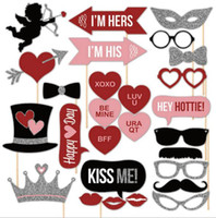 Wholesale Funny Photos Women - 27pcs Just Married Photo Booth Props Photobooth Wedding Favors Glasses Paper Card Funny Mask Party Decoration Photocall