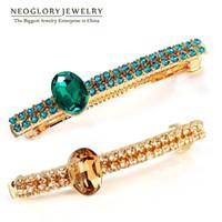 Wholesale Wholesale Gemstones Jewelry China - Alloy Gold Plated Trendy Barrettes Rhinestone Crystal Jewelry Women Hairwear 2017 Fashion Neoglory WST