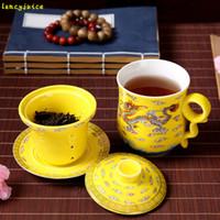 Wholesale Tea Cup Jingdezhen - Ceramic mug with cover filter dragon cup 4pcs set office meeting personal tea porcelain elegant tea cups Jingdezhen mug