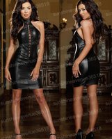 Wholesale Min Meshes - New Summer Black Mesh Sleeveless Min Short Clubwear Dresses Sexy Hot Night Vinyl PU Leather Sheath Bodycon Party Vestido