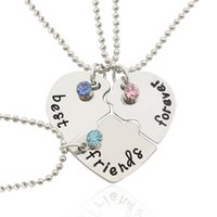 Wholesale Puzzle Bead - 2017 Fashion Best Friends Forever Pendant Necklaces Crystal Puzzle Broken Heart BFF Beads Chain Necklace Love Friendship Jewelry Wholesale