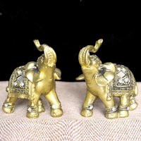Wholesale Glory Plastics - Q -Glory 2pcs Lucky Golden Elephant Decorative Figurine Resin Elephant Figures Home Decoration Accessories Miniature Garden