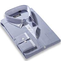 camisa do negócio do ferro venda por atacado-Atacado-Double Collar Não Ferro Listrado Camisas Dos Homens de Moda de Manga Longa Business Casual Camisa Formal Camisa Hombre chemise homme masculina