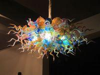 luces colgantes de cristal de murano al por mayor-Fancy LED Lámparas colgantes boca soplado cristal de Murano Tablero de mesa Colgante alto redondo Murano Glass Bubble Chandelier lámpara de luz