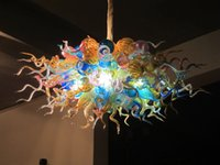 Wholesale Hotel Round Table - Fancy LED Lamps Mouth Blown Murano Glass Table Top High Hanging Round Chihuly Murano Glass Chandelier Light Fixture