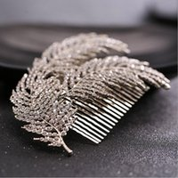 Wholesale Green Feather Hair Comb - New Bridal Headwear Wedding Hair Accessories Rhinestone Feather Hairpins Head Jewelry Hair Clip Comb for Women Party Headband