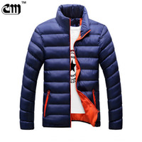 Wholesale mens fashion winter coats - Wholesale- Winter jackets mens thicken wadded leather Coat Jaqueta Masculina winter jacket men stand Collar windbreaker Parka Coats