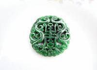 jade verde puro al por mayor-Jade verde natural, bendición doble hecha a mano pura del dragón. (encantador). Talisman - collar pendan