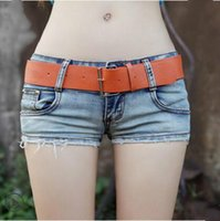 Wholesale Sexy Girl Tight Jeans - Wholesale- 2017 summer new Fashion sexy Disco Nightclubs female women girls elastic slow waist Tight jeans Denim shorts clothing clothes