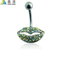 Wholesale Diy Belly Button Ring - New Style! DIY High Quality Fashion Silver Surgical Steel Colorful Rhinestone Lip Shape Belly Button Ring For Women Body Piecing Jewelry