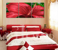 Wholesale Bright Canvas Set - Free Shipping 3 pcs set Frameless Modern Home Decoration wall art picture bright red flower canvas Print canvas Wedding Decoration