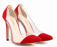 Wholesale Chinese Ol - Sexy Mature Pointed Toe Women Shoes PVC Side Transparent Shoes Women Pumps Multi-colors Chinese Size 42 Faux Suede OL Shoes