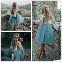 Wholesale Boho Dress Petite - 2017 Summer Boho Short Cocktail Dresses Vintage Lace Bodice A Line Tiers Tulle See-through Prom Gowns Tutu Skirt Knee Length Party Dresses
