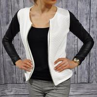 Wholesale Leather Stylish Winter Jacket - Wholesale- Women Autumn Winter Slim PU Leather Jacket Casual Zip Long Sleeve Chic Stylish Tops Blouse Outwear Coat Patchwork Jackets