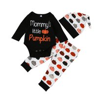 Wholesale Baby Leggings Letter - Halloween INS Baby Set Pumpkin Letter Print Newborn Baby Girls Boys Clothes Long Sleeve T-shirt Romper Leggings Pants Hat Casual Outfits 761