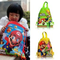 Wholesale Wholesale Super Mario Backpacks - Min Order=10PCS Super Mario Children Cartoon Drawstring Backpacks School Bags 34*27CM Kids Birthday Gift Party Bags Free Shipping