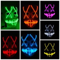 Wholesale Party Mask Led - LED Halloween Ghost Masks The Purge Movie EL Wire Glowing Mask Masquerade Full Face Masks Halloween Costumes Party Gift CCA7645 100pcs